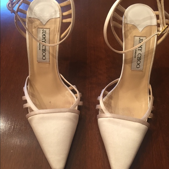 White Satin Jimmy Choo Wedding Shoes